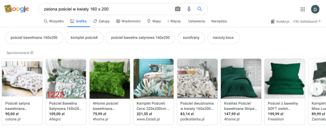 Reklama w zakładce Google Grafika