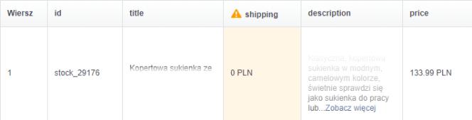 Shipping błąd katalogu