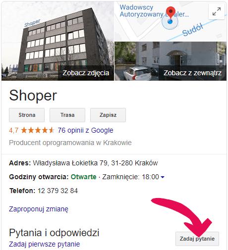 Zadaj pytanie w Google Moja Firma