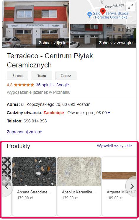 Terradeco - Centrum Płytek Ceramicznych - Google Moja Firma