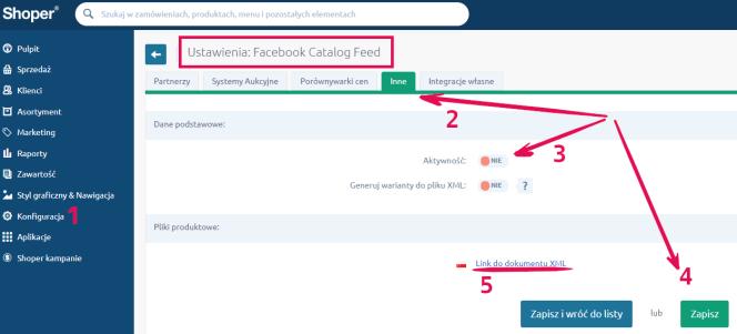 integracja FB - Shoper