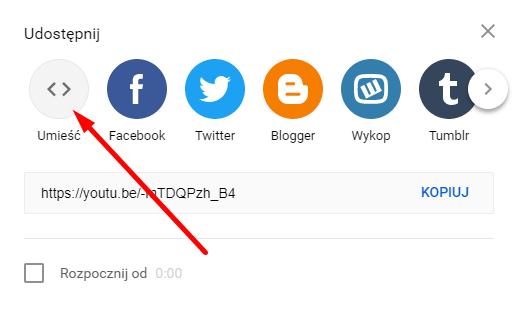Udostępnienie kodu YouTube
