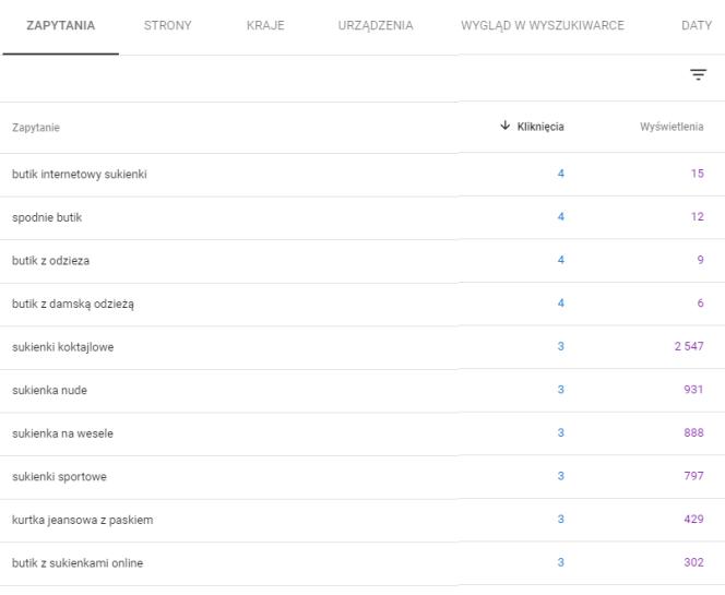 Raport Skuteczność w Google Search Console