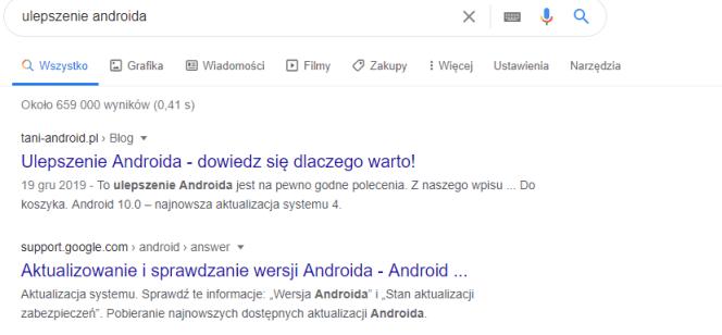 Ulepszenie Androida – przykład frazy nieodmienionej