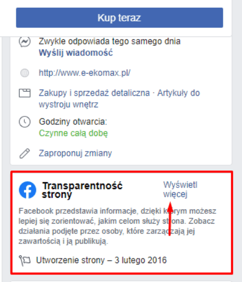 Transparentność strony na Facebooku