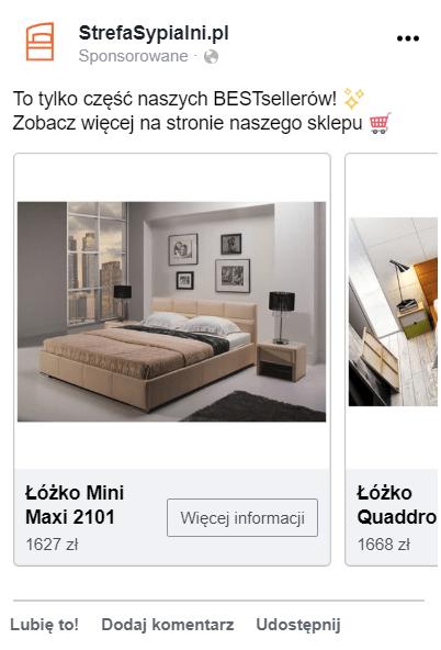 Przykład użycia prostokątnego zdjęcia kontekstowego w reklamie na Facebooku.
