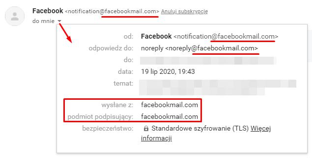 Poprawny mail od Facebooka