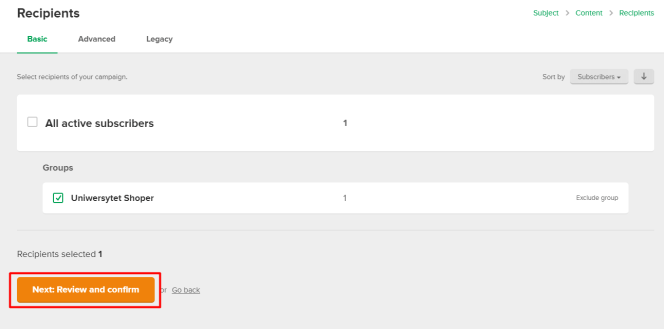Wybór subskrybentów do wysyłki w MailerLite