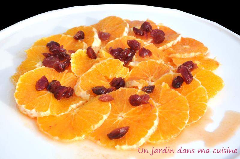 salade oranges canneberges rhum