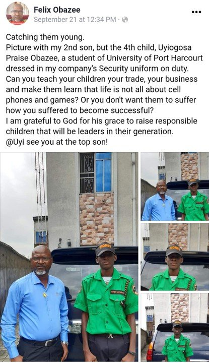 Felix Obazee, the Director of Fionet Security Company, shared the news of recruiting a new employee who is own son on LinkedIn.