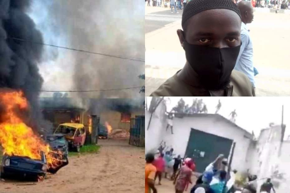 Governor Obaseki declares Curfew from 4 pm after Endsars protestors almost lynch bank security staff, play ping pong on Federal Road, burn prison and free inmates : 2 Videos