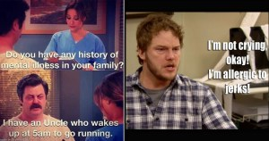 wakes up at 5am go running made with mematic andy dwyer im not crying okay allergic jerks nbccom