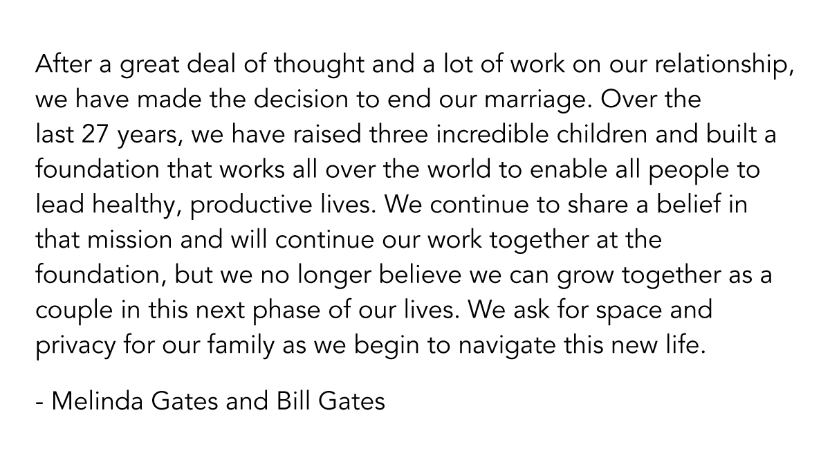 Bill and Melinda Gates are divorcing after 27 years: Melinda Gates Tweets to confirm split (Video)
