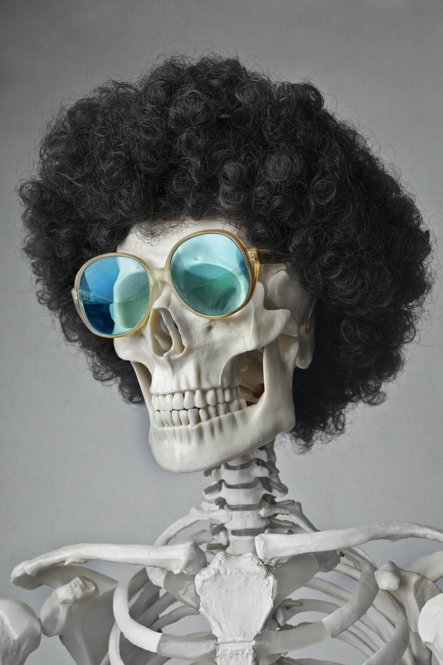 portrait photo of a skeleton in sunglasses and wig