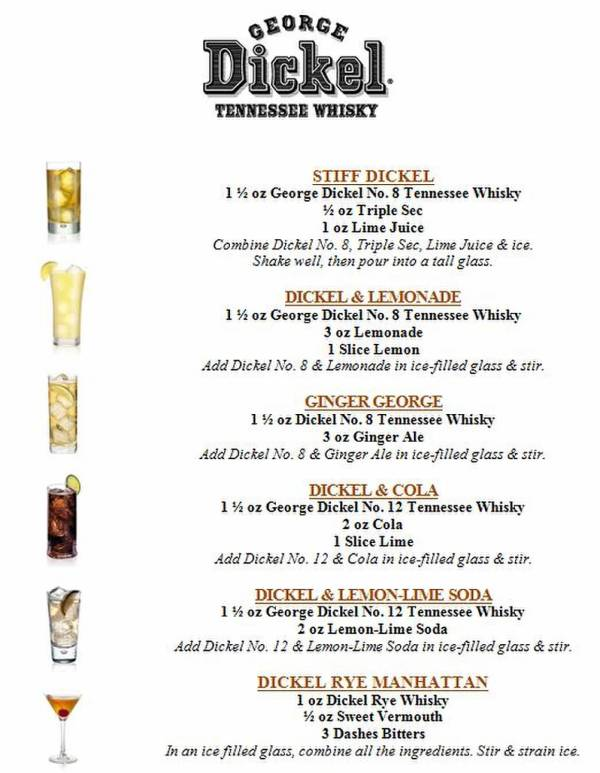 George Dickel drink menu