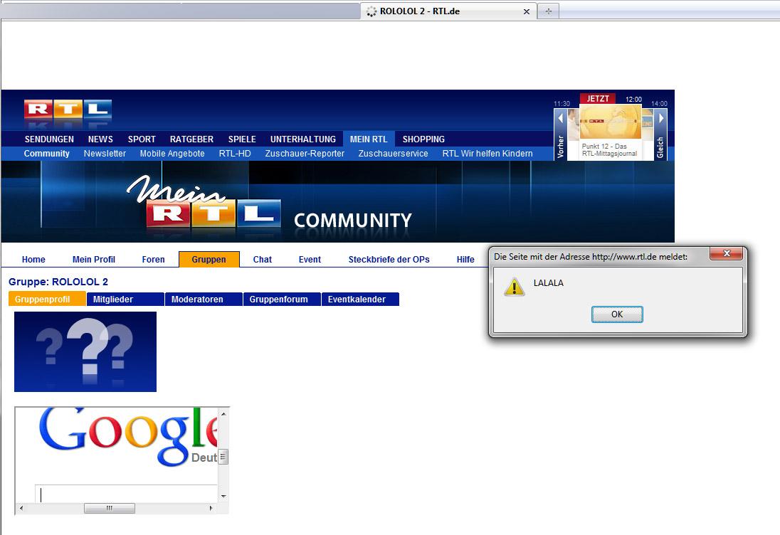 Screenshot von gehackter RTL-Webseite