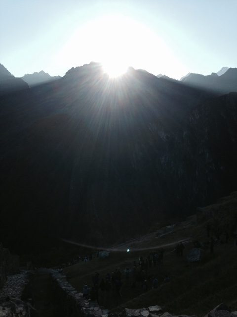 Sunrise over mountain at Machu Picchu