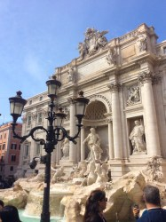 View from the side of the Trevi Fountain