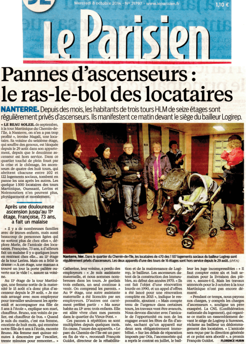 Le Parisien du 2014-10-08 - Ascenseurs à Logirep