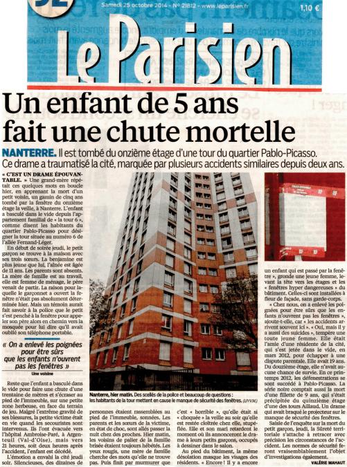 Le Parisien du 2014-10-25 - Chute mortelle aux Champs-aux-Melles