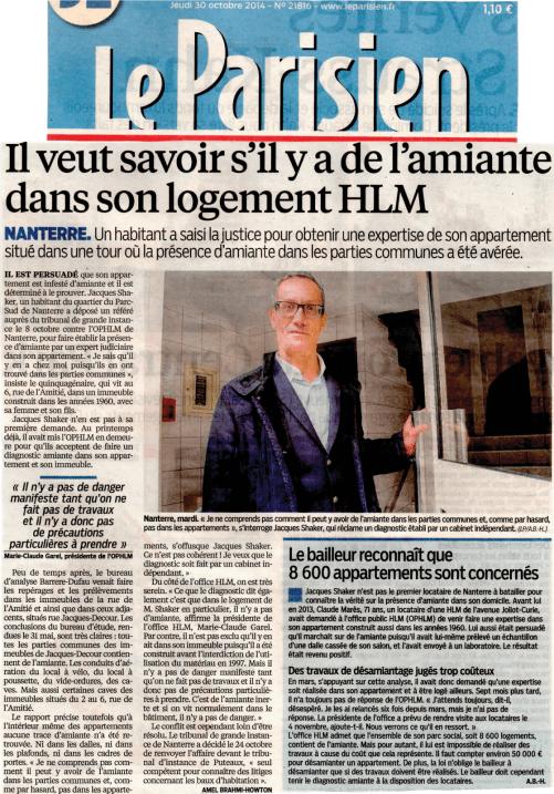 Le Parisien du 2014-10-30 - Amiante Jacques Shaker