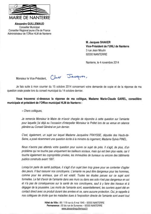 2014-10-15 43 - Copie question sur amiante HLM par Alexandre GUILLEMAUD (Réponse 2) 1
