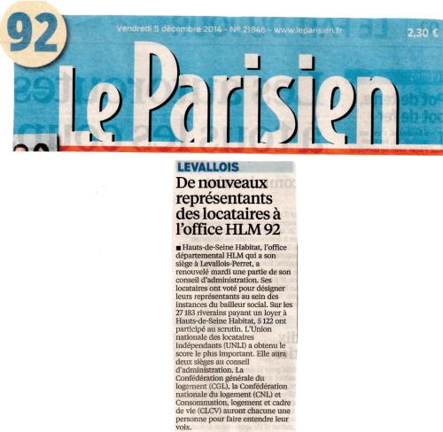Le Parisien du 2014-12-05 - Résultats Hauts-de-Seine Habitat