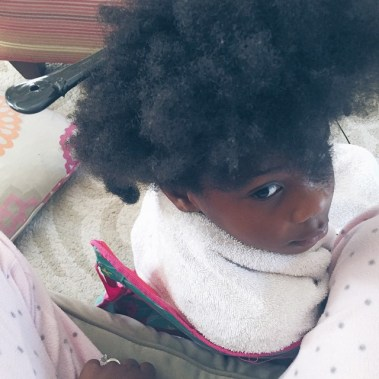 She keeps asking when are we going to Target. I keep saying when you turn your head around so I can finish #naturalhairkids