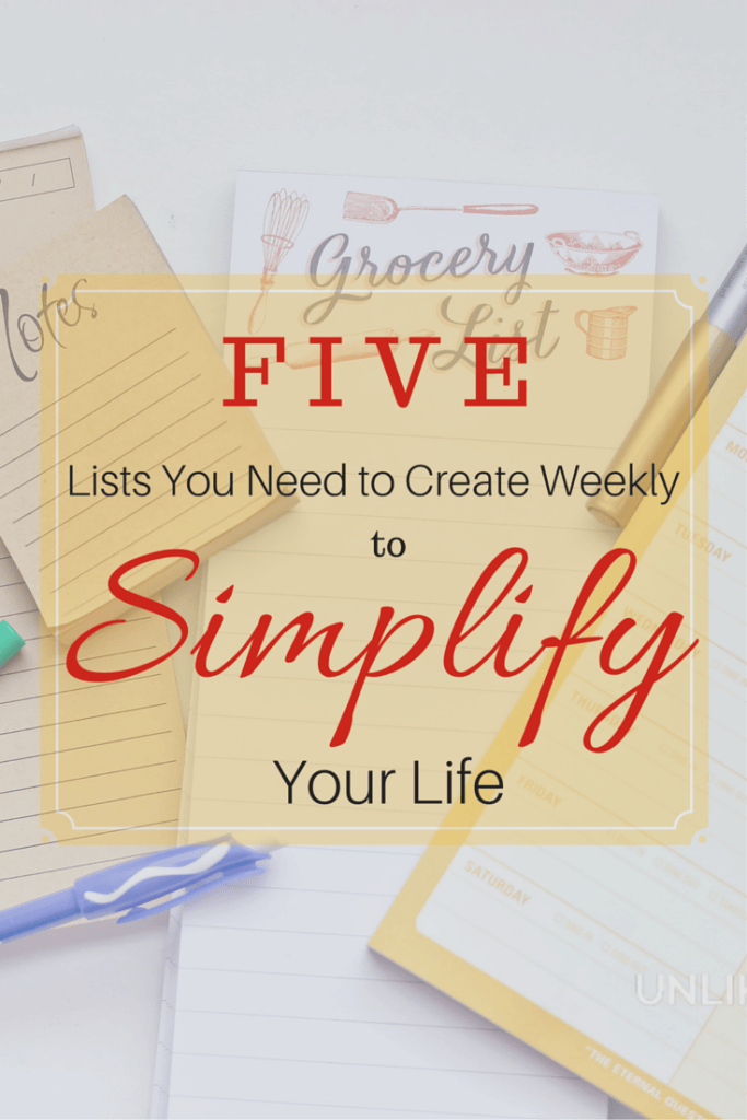 5 lists to create that will simplify your life