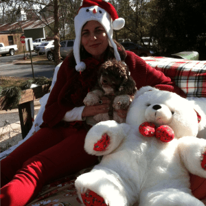 Catherine and Belle in Christmas Parade Regalia