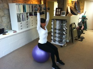 Shoulder Press Seated On Ball