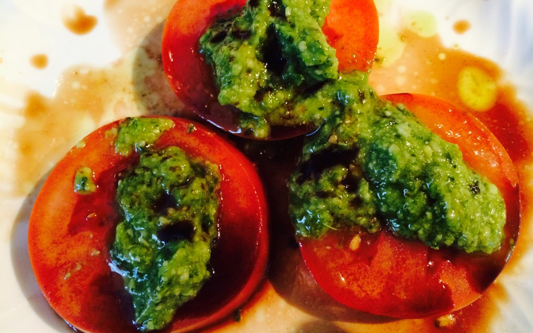 Tomato, Pesto and Balsamic Vinegar Salad