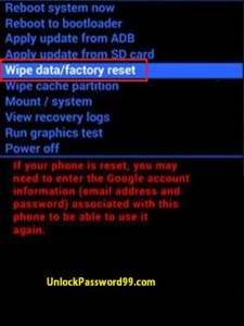 Hard Reset wipe data Option