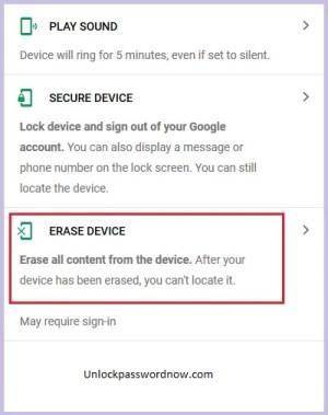 Realme Erase option in google find my device