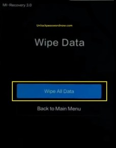 Xiaomi mobile Hard Reset - Wipe all data option