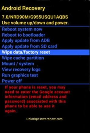 Android Phone Hard Reset - Wipe data option