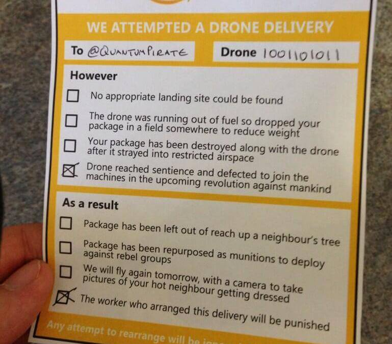 When you miss your Prime Air drone delivery…