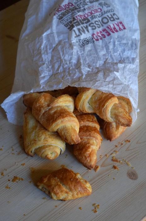 A beautiful bag of croissants