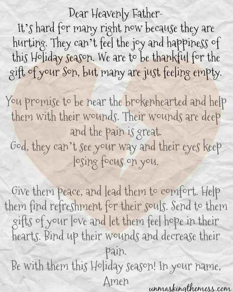 HeartBreak Holiday Prayer. Free printable prayer. Hurting, pain, sadness during the Christmas season.