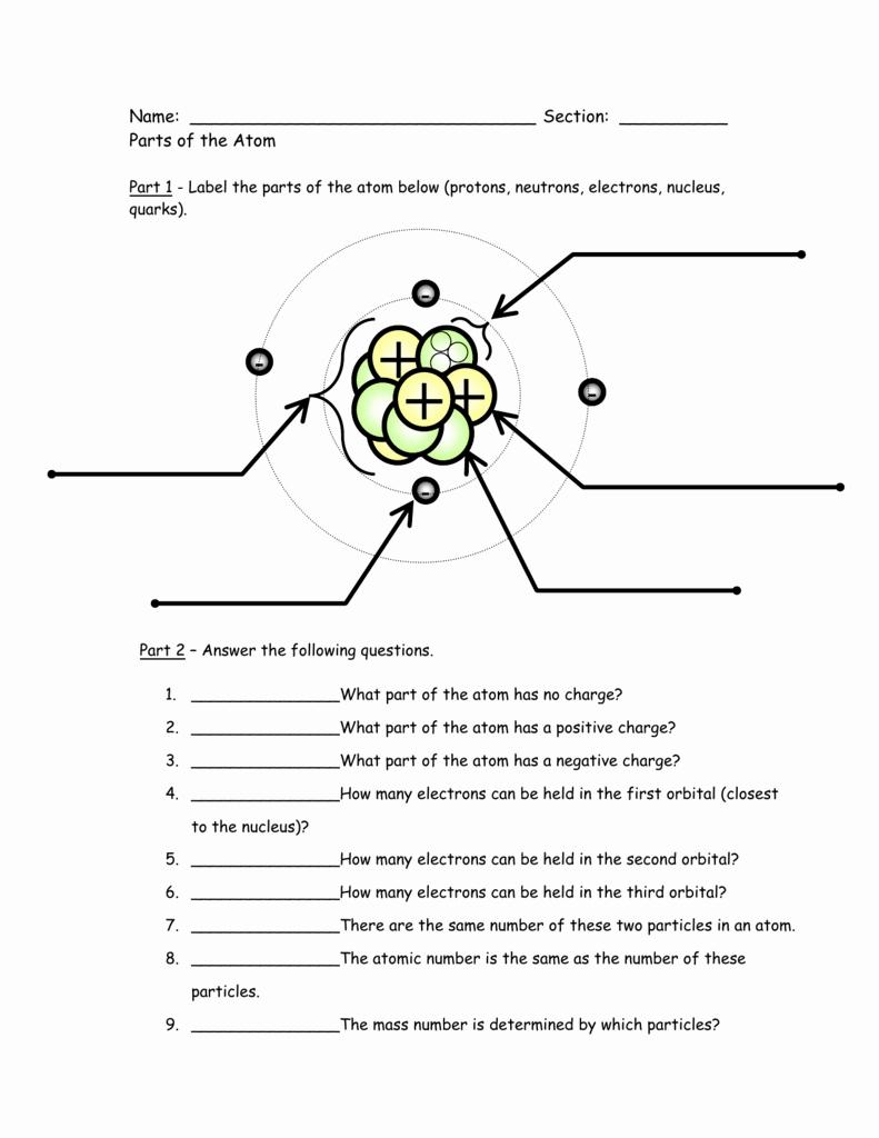 Label The Parts Of An Atom Worksheet Images  Worksheet For Kids Maths Printing