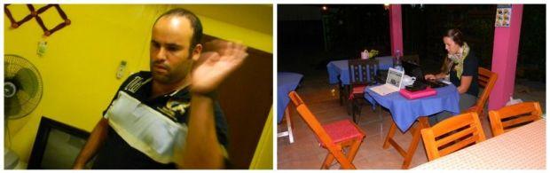 Edgardo matando algún mosquito y Juli en el comedor del Baan Bua Homestay