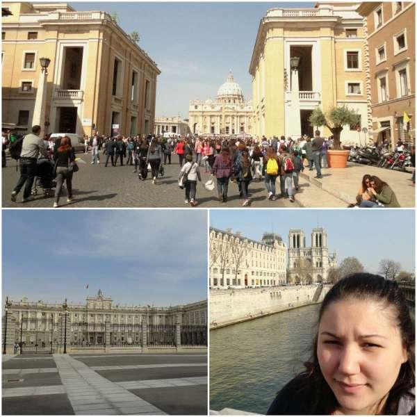 Arriba: el Vaticano, abajo a la derecha: el Palacio Real de Madrid; abajo a la izquierda: quien escribe con la Catedral de Notre-Dame de fondo (París)