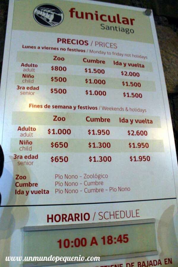 precios funicular cerro san cristobal