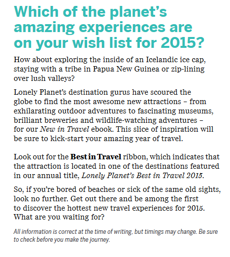 Lonely planet New In Travel 2015