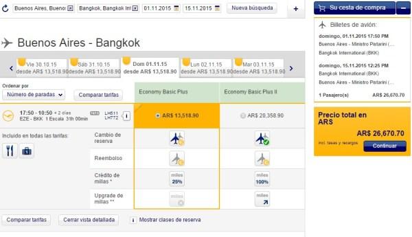 Vuelo Buenos Aires-Bangkok con Lufthansa