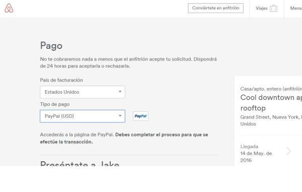 Pagar Airbnb con Paypal