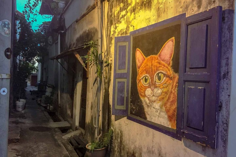 "Peinture ""Cat in a blue window"" à Penang en Malaisie"