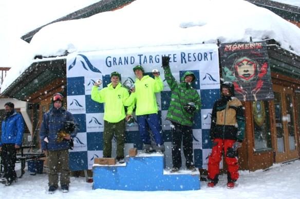 Bennett Drummond and Jonny York on the podium at Grand Targhee. Photo courtesy of Grand Targhee Resort.