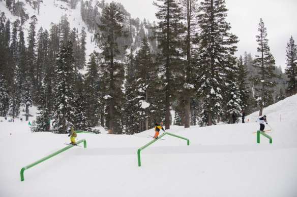 AFT skiers demonstrate the proper use of the big rails in the Tiegel park earlier this season.