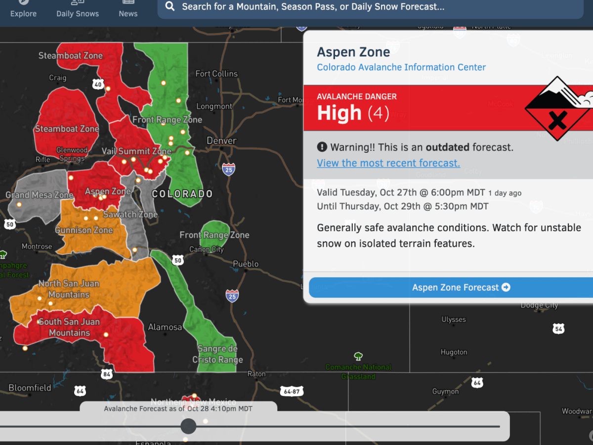 OpenSnow Launches Avalanche Forecast Map